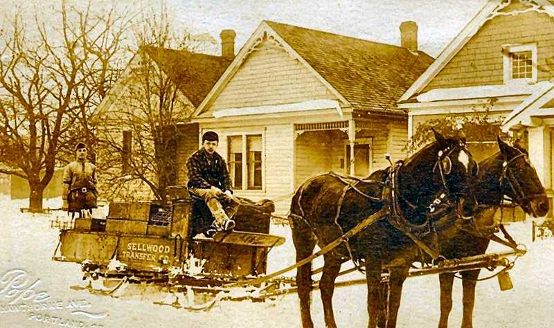 COURTESY OF MARK MOORE, PDXHISTORY.COM - These young men were undeterred by wintery snow in early in the last century in Sellwood, and made deliveries by sled to nearby residents. Established in 1905, the Sellwood Transfer Company was one of Inner Southeasts premier moving companies for over 50 years.