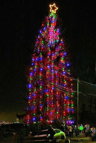 DAVID F. ASHTON - The SMILE Christmas Tree may or may not be the largest decorated tree in Portland, but it is enjoyed by people on both sides of the Willamette River. It can even be seen by drivers on Interstate Five after dark.