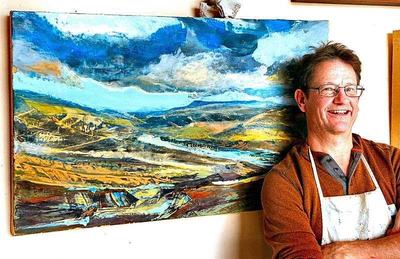 DAVID F. ASHTON - Kirk Weller, an artist in the Brooklyn neighborhood, says that using encaustic gives his landscape art a sense of depth and reality.