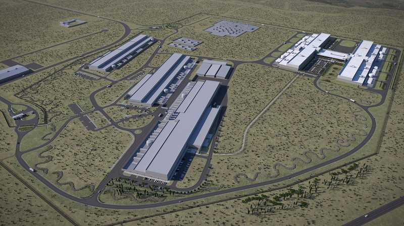 IMAGE COURTESY OF FACEBOOK - An artist's rendering of the Prineville Data Center campus after the fourth and fifth buildings are completed, located in the upper right corner of the image.