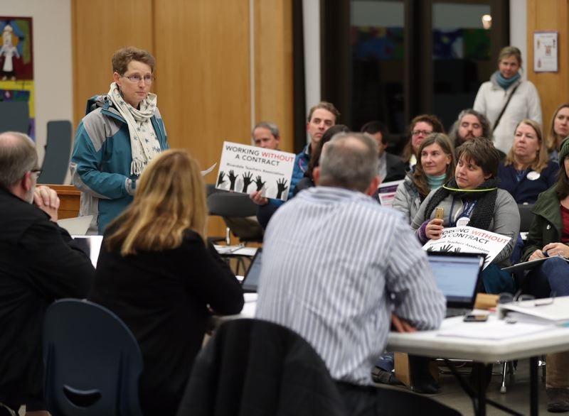 TRIBUNE PHOTO: JAIME VALDEZ - Teachers rallied at the Riverdale School District board meeting Monday, Dec. 11, in a bid to come to an agreement over cost of living increases.