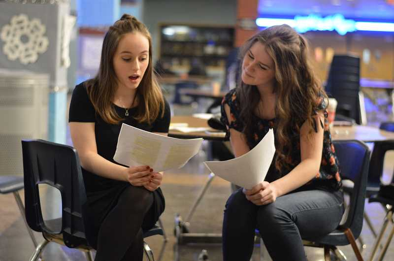 SPOKESMAN PHOTO: CLARA HOWELL - Samantha Katz (left), sophomore, and Abi Edwards, junior, practice for the comedic audition.
