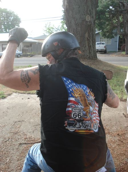 PHOTO COURTESY: KATHRYN EASTWOOD - Troy Eastwood on his Harley Davidson motorcycle.