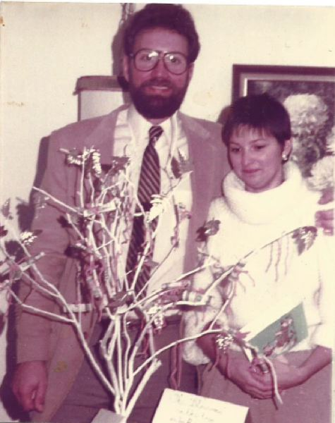 PHOTO COURTESY: KATHRYN EASTWOOD - Troy and Kathryn Eastwood with a money tree at the Aloha Church of God (his first pastorate) in 1984.