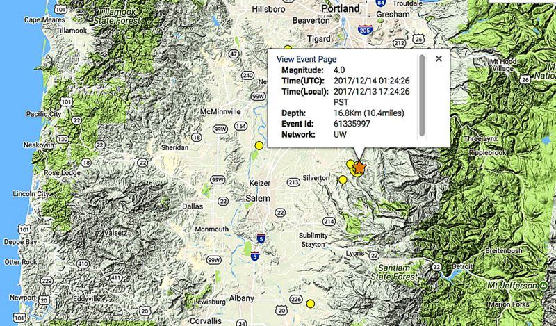 4.0 natural disaster hits near Woodburn, felt across area