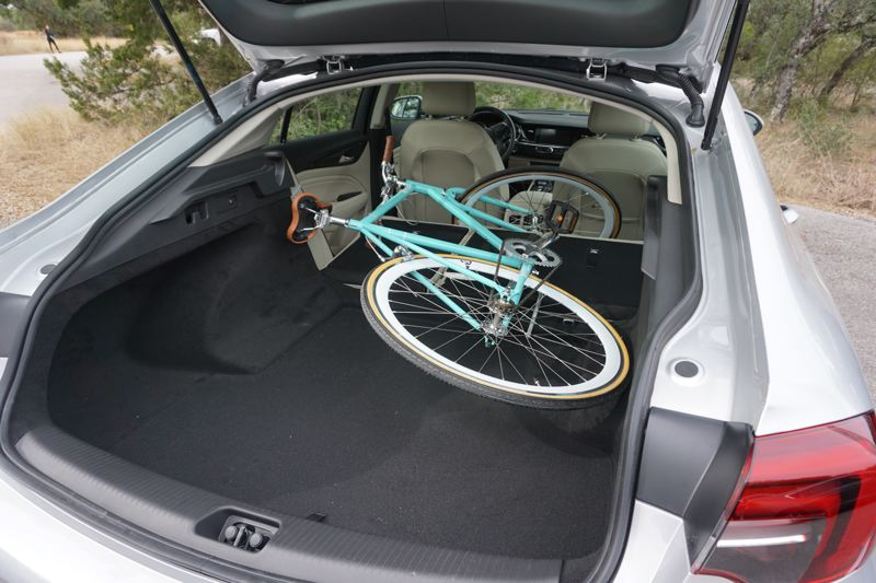 PORTLAND TRIBUNE: JEFF ZURSCHMEIDE - The most important thing that the Sportback offers is its cargo capacity. Instead of a traditional trunk, the entire rear window is part of the trunk lid, and when you fold down the rear seats, you get a massive 60.7 cubic feet of cargo capacity. That's enough to put a couple of bicycles in without having to remove their front wheels or perform any gymnastics.