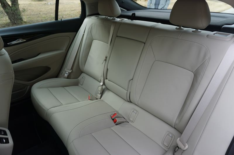 PORTLAND TRIBUNE; JEFF ZURSCHMEIDE - Rear seat room in the Regal Sportback is very generous, and they fold down to create an enormous amount of cargo space under the hatch.