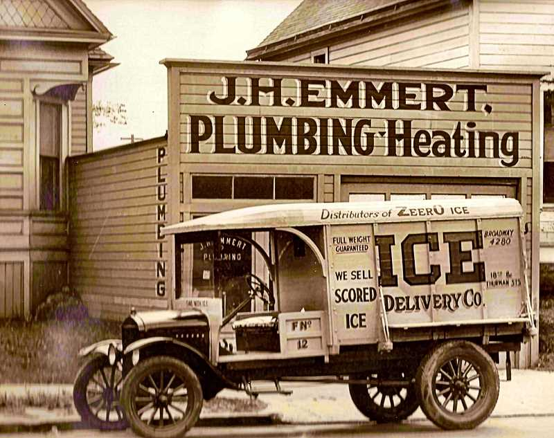 "COURTESY OF OREGON HISTORICAL SOCIETY - Since electric refrigerators in homes didn't become common until the 1940's, before that most households still stored their food in ""ice boxes"". At least twice a week the iceman delivered 40 to 50-pound blocks of ice to homes around Inner Southeast. This one of the ice company trucks that might have delivered ice to your house in those days; earlier versions were horse-drawn wagons."
