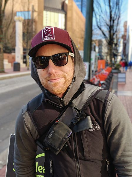 PAMPLIN MEDIA GROUP: JOSEPH GALLIVAN - Bike messenger Tim Keller sees a lot of Portland every day and says, Downtown is not the prettiest place on Earth. He is not scared of what he sees but can understand how people not used to Portland's street life could be put off.