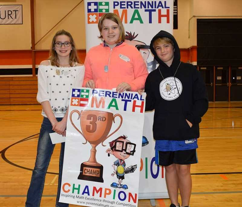 SUBMITTED PHOTO: KATHLEEN FRENCH - Two of Molalla's sixth-graders also placed individually. Marie Mason (left) and Hazell Parker (middle) of Molalla RIver Middle School tied for third place with Simon Batt (right) of Access Academy.