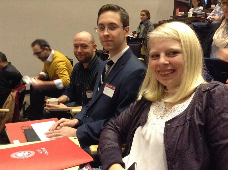 SUBMITTED PHOTO: CHERYL GOODSON - Latin teacher Rory Murtaugh (left) took students Jason Schwartz, ORJCL president and Lily Goodson, vice president, to the Reed College Latin Forum in Portland on Nov. 18.