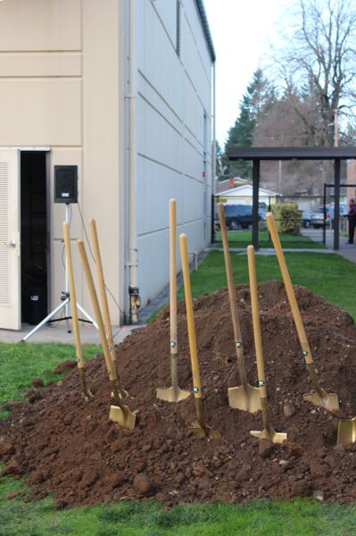 PHOTO BY: MADISON DALLING-RAISNER - Golden shovels are ready for the groundbreaking of bond construction projects at Lot Whitcomb Elementary School in unincorporated Milwaukie.