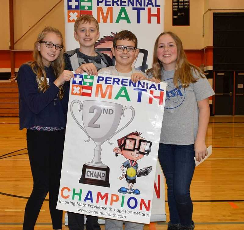 COURTESY PHOTO: PERENNIAL MATH - A Baker Prairie seventh grade math team recently placed 2nd in a Perennial Math tournament. Pictured from left to right are: Eris Peto, Hayden Prue, Eli Rupp and Maren Bowlsby.