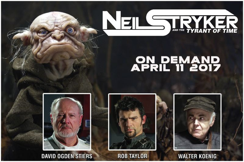 Rob Taylor, director and Neil Stryker lead actor, is pictured between photos of David Ogden Stiers and Walter Koenig.