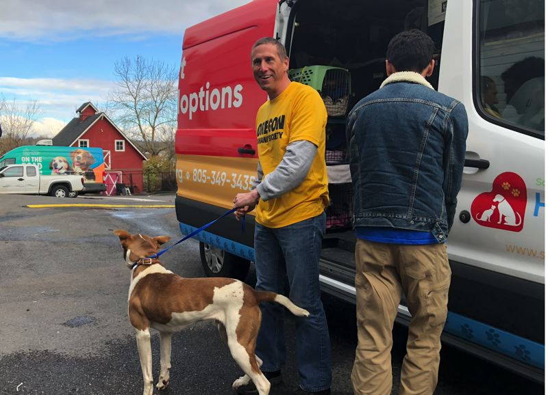 COURTESY PHOTO: OREGON HUMANE SOCIETY - Oregon Humane Society Chief Operating Officer Brian August and Santa Maria Valley employee Erik Anda drove the dogs to Portland.
