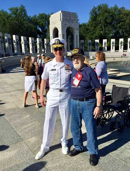 CONTRIBUTED PHOTO: MATT MOFFAT - Estacada resident and World War II veteran Frank White (right) visited Washington, D.C., on an honor flight this past summer.