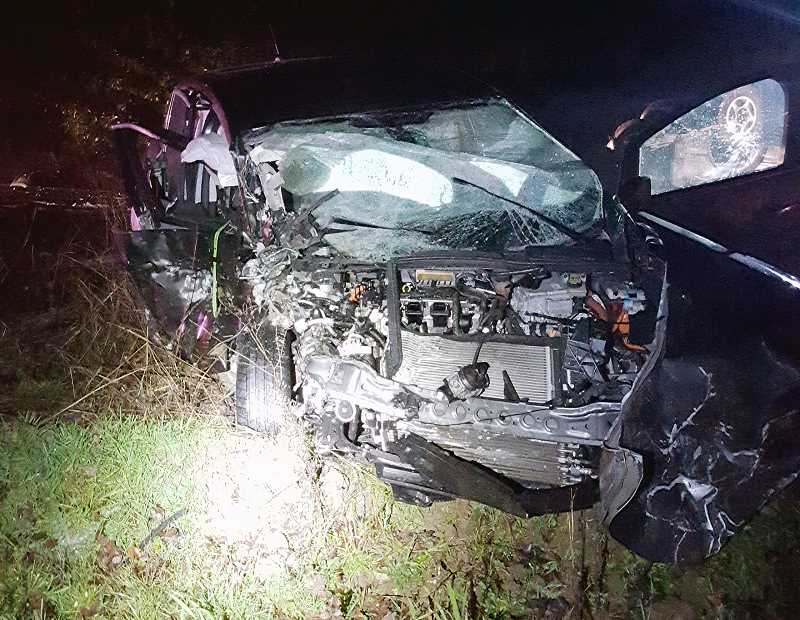 OREGON STATE POLICE - A 2014 Ford C-Max, operated by 54-year-old David Lawver, was reportedly struck by a 2002 Toyota Tacoma along Highway 213 just south of Molalla Tuesday night, sending both drivers to OHSU with non-life threatening injuries.