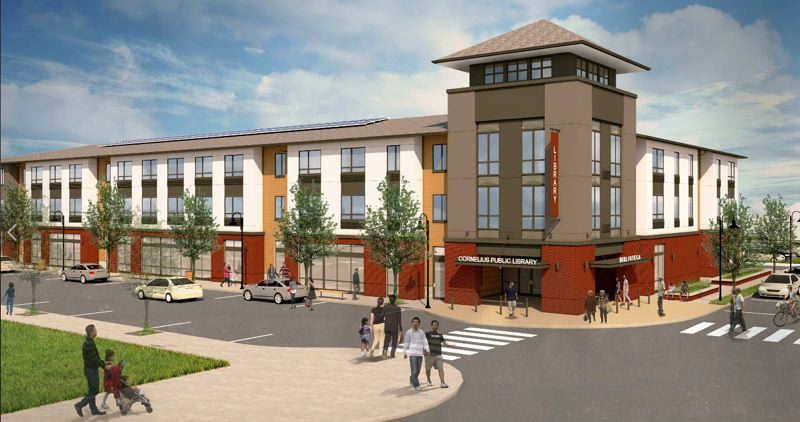 COURTESY OF THE CITY OF CORNELIUS - When it opens in 2019, the new home of the Cornelius Public Library will be a radical change to the streetscape at Adair Street and 14th Avenue.