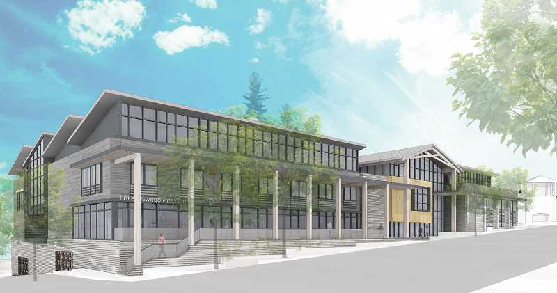 PHOTO COURTESY OF THE CITY OF LAKE OSWEGO - Exterior renderings of the proposed downtown Civic Center show design features along A Avenue that incorporate a variety of suggestions from community forums, including a gabled roof above the main entrance.