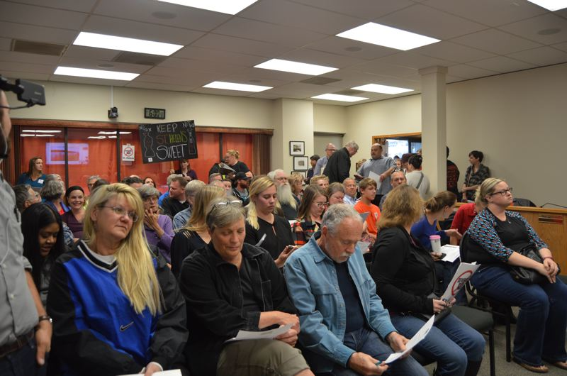 SPOTLIGHT FILE PHOTO - The St. Helens City Council chambers were filled in October when residents expressed concern about the citys consideration of a sugar-sweetened beverage tax in city limits as a revenue-generating option and a way to promote a healthy community. After the proposal was quashed, petitioners seized the initiative to collect signatures on a ballot measure that would ban any future tax on groceries.