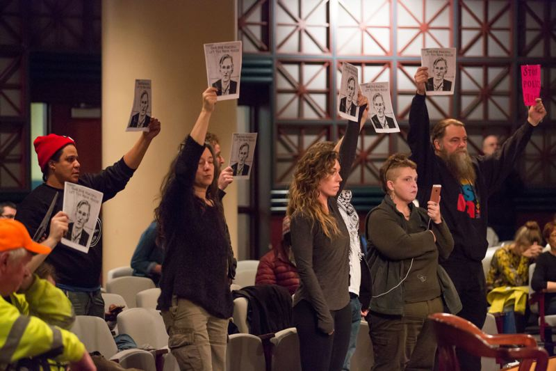 PORTLAND TRIBUNE: JONATHAN HOUSE - Protesters repeatedly disrupted City Council meetings and singled Mayor Ted Wheeler out for criticism for much of 2017. Things have mostly returned to normal in recent months, however.