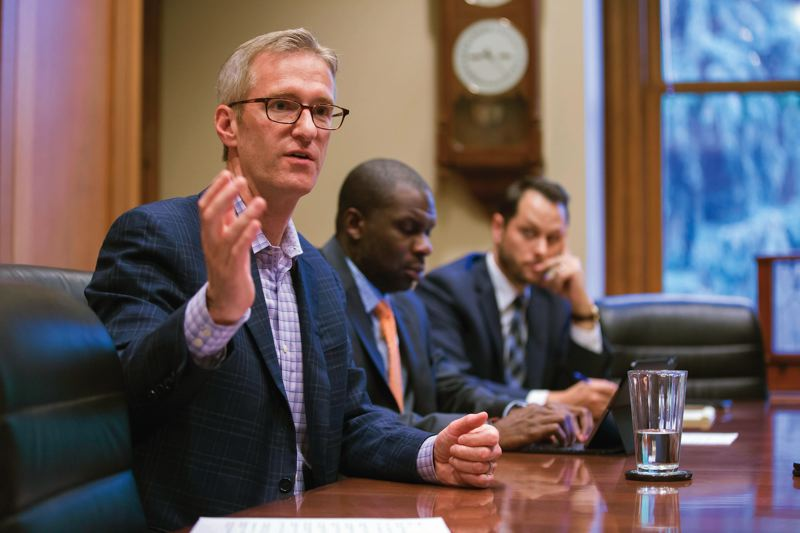 PORTLAND TRIBUNE: JONATHAN HOUSE - Mayor Ted Wheeler and members of his staff met with the Portland Tribune editorial board in his office last June.