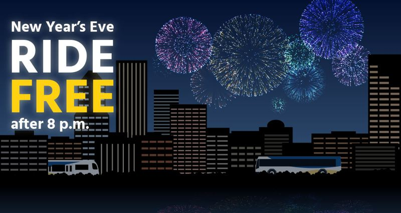 TriMet offering free rides on NYE starting at 8 pm