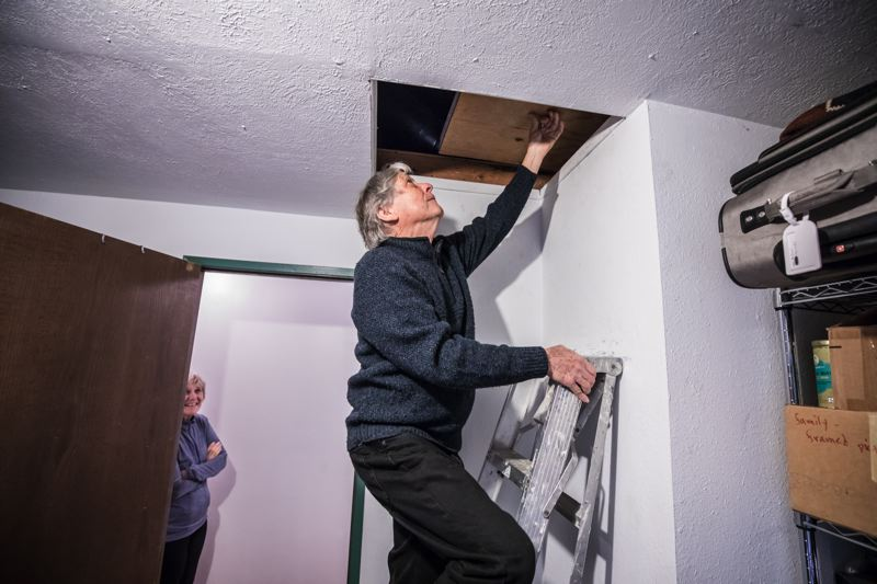 TRIBUNE PHOTO- JONATHAN HOUSE - Michael Kronenthal accesses his family's attic, where they hope to install new insulation to use less energy. Their new Home Energy Score revealed they could use an extra foot of attic insulation.