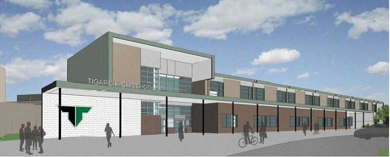 COURTESY: TIGARD-TUALATIN SCHOOL DISTRICT - A rendering of what the new facade at Tigard High school will look like once construction is complete in 2020.