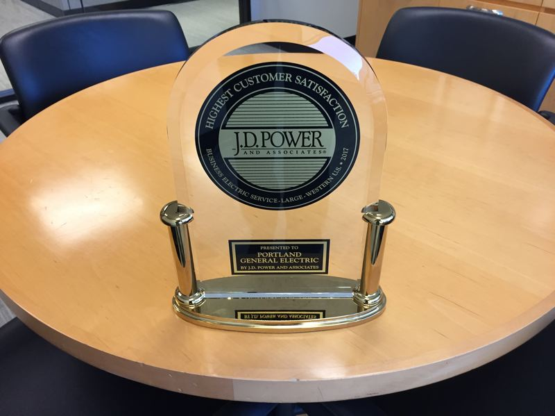 SUBMITTED: PGE - PGE ranks highest in the West in business customer satisfaction, an award bestowed by JD Power and Associates after researching.
