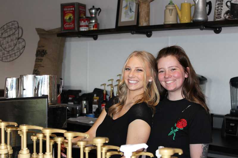 HERALD PHOTO: KRISTEN WOHLERS - Leona Gwynn (left) and Tori Gwynn (right) brewed coffee for guests at the Gwynn's Coffeehouse soft opening on Wednesday, Jan. 3.