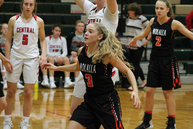 PIONEER PHOTO: CONNER WILLIAMS - Molalla senior Sierra Cox plays defense against Central earlier this seaosn.