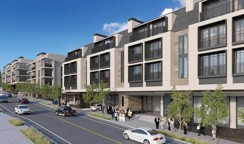 PHOTO COURTESY OF STURGEON DEVELOPMENT PARTNERS - Concept art for the proposed North Anchor project shows three distinct buildings along B Avenue, including a boutique hotel and senior apartment complex stretching from State Street to the alley between First and Second streets.