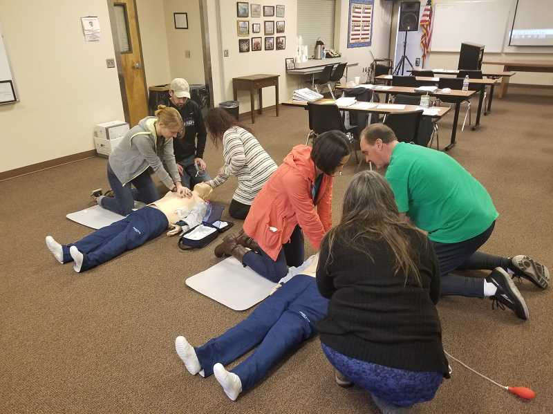 PHOTO COURTESY OF MOLALLA FIRE - Molalla Fire holds first aid and CPR classes using the mannequins purchased with the Siletz grant funds.