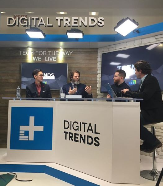 COURTESY: DIGITAL TRENDS - Portland's Digital Trends has for 10 years been a big presence at the Consumer Electronics Show. In 2017, it had its first live stage, featuring celebrities, bloggers and tech luminaries. (L-R) Alex Ho, CMO at American Greetings, Nick Offerman an actor in Parks & Recreation, Rick Stella Outdoor Editor at Digital Trends, and Greg Nibler, host of the podcast Trends with Benefits.