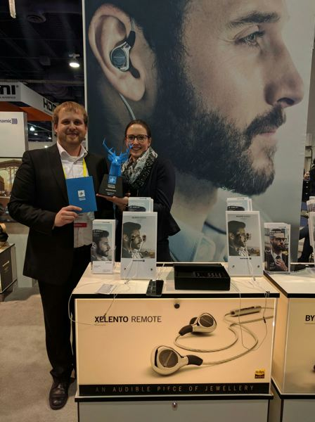 COURTESY: DIGITAL TRENDS - Staff from Xelento, winners of the best headphones of Digital Trends Top Tech CES 2017 awards.