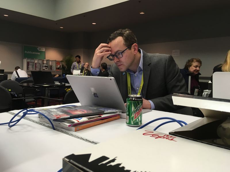 COURTESY: DIGITAL TRENDS - Digital Trends editor in chief working at the 2017 Consumer Electronics Show in Las Vegas. Kaplan's team goes there spott rends and drive traffic to its site. For the second year in a row DT will broadcast live video all day.