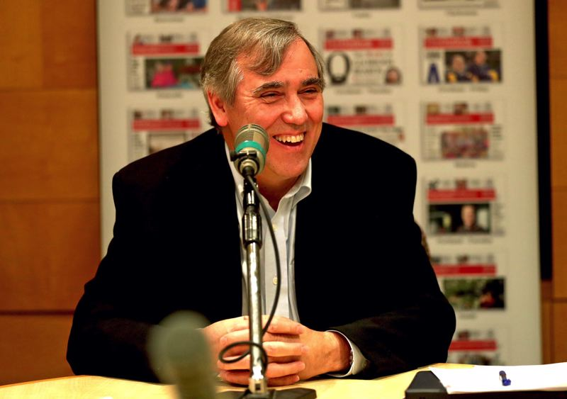 TRIBUNE PHOTO: JAIME VALDEZ - Sen. Jeff Merkley spoke Friday to reporters and editors of the Pamplin Media Group, which includes the Portland Tribune and weeklies such as the Beaverton Valley Times.