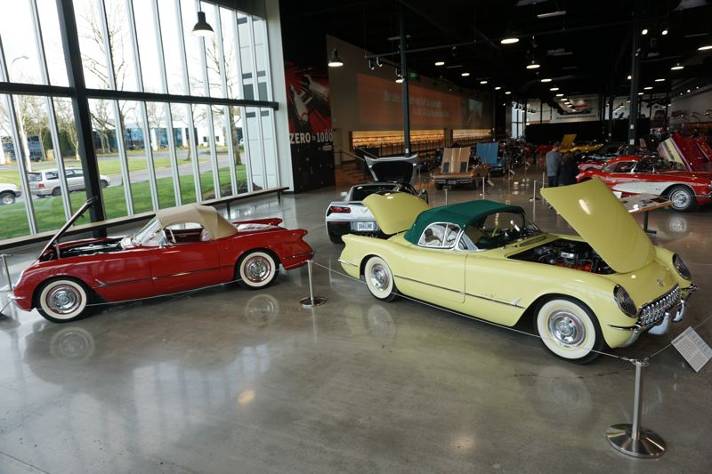 PORTLAND TRIBUNE: JEFF ZURSCHMEIDE - Examples of the 1954 and 1955 Corvettes are placed together with the newest seventh-generation Corvette Stingray