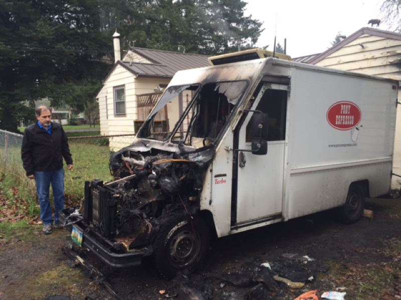 PHOTO BY: KOIN 6 NEWS - Bruce Linder's Pony Espresso truck was destroyed by an engine fire on Dec. 27.