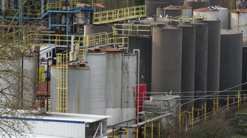 COURTESY PHOTO: TOM TEST - A spokesman for EcoLube Recovery, which owns this refinery across the street from the Portland Expo Center, said violations found by city regulators in 2016 occurred under prior ownership. However, EcoLube was cited last month by the DEQ for unlawfully storing PCBs.