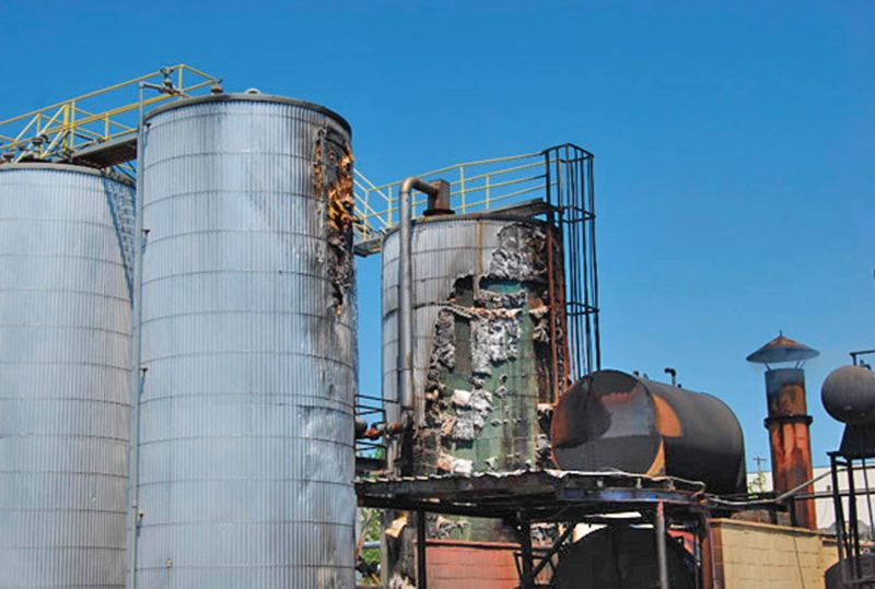 COURTESY PORTLAND FIRE & RESCUE - Portland firefighters extinguished the 2009 fire at ORRCO's oil-recycling refinery before it spread to adjacent storage fuel tanks. The refinery is now owned by EcoLube Recovery.
