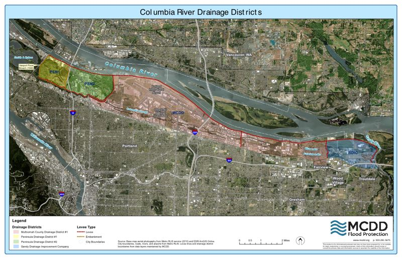COURTESY: MULTNOMAH COUNTY DRAINAGE DISTRICT - Colored areas show five drainage districts in the Columbia River floodplain that are prone to flooding and whose property owners pay for the levee system. A sixth district protects Sauvie Island.
