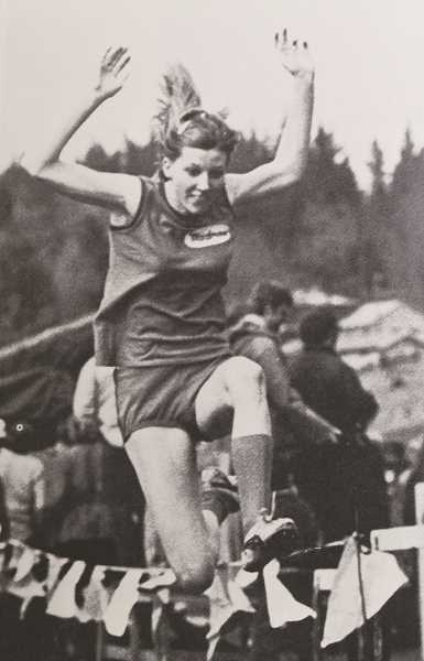 CONTRIBUTED PHOTO - Kathy (Pirrie) Noethlich, at right, is one of seven individuals and a team in the 2018 class of the  Madras High School Athletic Hall of Fame. Noethlich was a star track athlete, particularly in the long jump. At a  1972 meet in Crook County, she landed a jump of 19 feet, 1 inch, setting a national record that stood until 1976