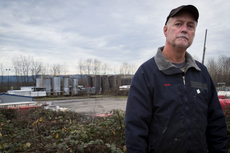 TRIBUNE PHOTO: JAIME VALDEZ - Tom Test, a maintenance worker at Portland Expo Center, says people attending events at the center have complained about foul odors, which he suspects come from air emissions by the EcoLube Recovery facility across the street.