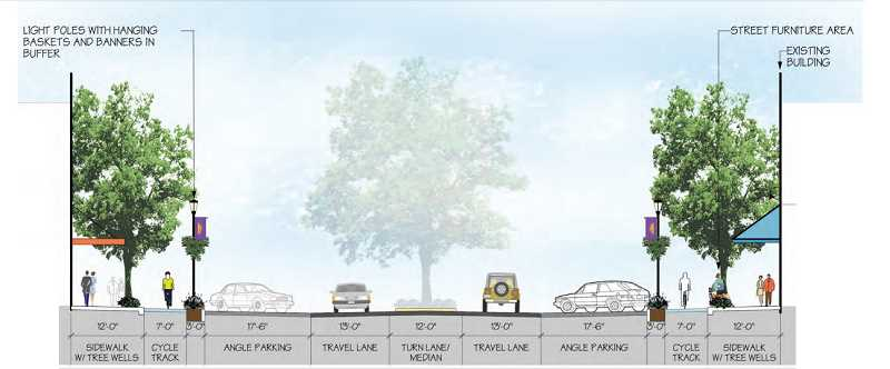 SUBMITTED PHOTO - The streetscape concept plan calls for widened sidewalks, changes to the parking scheme along the street and a tree planting strip down the middle of the road.