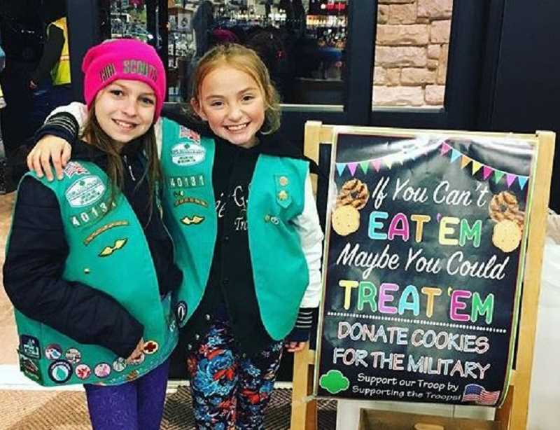 Best friends Makayla McCartney-Pike and Melanie Gabriel Hastings hope to sell a lot of Girl Scout cookies in 2018 including some that will be sent to soldiers overseas