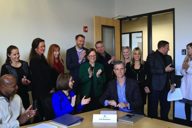 PHOTO: ATHENA DELENE  - The team who worked on bringing Apprenti to Oregon with Governor Kate Brown.