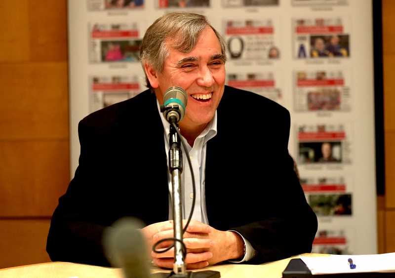 PAMPLIN MEDIA GROUP PHOTO: JAIME VALDEZ - U.S. Sen. Jeff Merkley talked about marijuana enforcement, offshore oil drilling, tax reform and other issues Friday during an exclusive meeting with Pamplin Media Group editors.