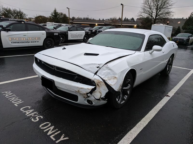 PHOTO COURTESY: OSP - An Oregon City Police Department squad car was hit during a pursuit with a driver on Jan. 10.